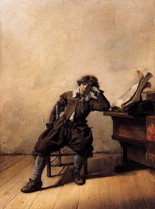 A Young Student at His Desk: Melancholy by Pieter Codde