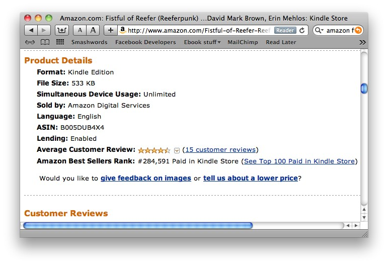 screen shot of amazon