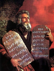 Charton Heston holds the ten commandments